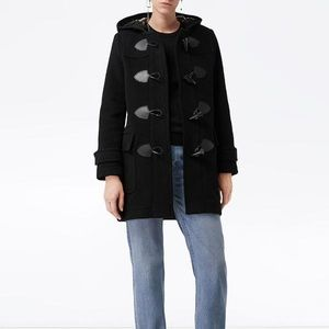 Burberry Black Wool Blend Duffle Coat